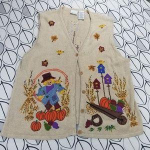 Vintage Harvest Fall Embellished Sweater Vest